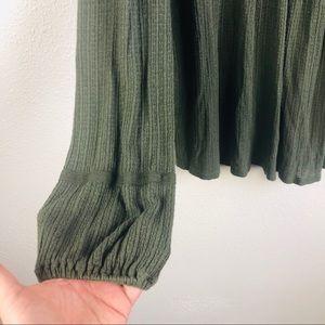 Lucky Brand Tops - Lucky Brand | Hunter Green Waffle Knit Boho Top